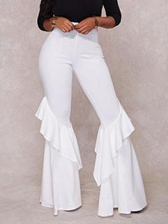 European Style High Waist Ruffles Flare Pants