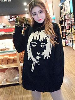 Portrait Printing Black Oversize Sweater