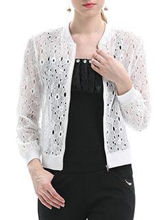 Hollow Out Zip Up Lace Short Coat