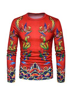 Retro Printing O Neck Pullover T-shirt Men