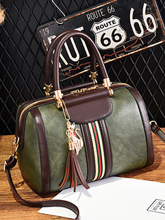 Chic PU Contrast Color Zipper Handle Bag (3-4 Days Delivery)