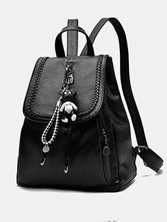 New Zipper Pendant Korean Black Backpack (3-4 Days Delivery)