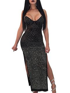 European Sexy V Neck Beading Split Strap Dress