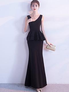 Elegant V Neck Ruffles Fishtail Evening Dress
