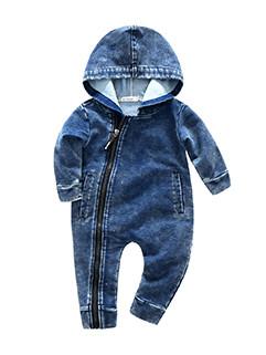 Solid Hooded Denim Infant Romper(3-4 Days Delivery)
