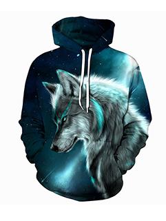 Wolf Digital Fashion Loose Hoodies