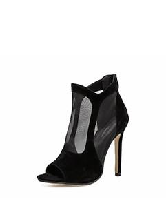 Euro Style Peep Toe Black Gauze Ankle Boots