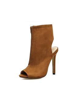 Front Zipper Peep Toe Stiletto Heel Ankle Boots