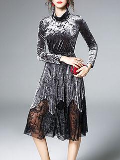 Exquisite Design Cowl Neck Velvet Lace Patchwork Dress