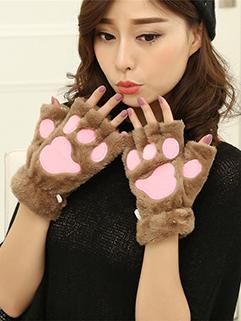 Winter Lovely Design Half Finger Thicken Gloves