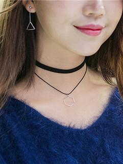 Japanese Design Layered Geometric Necklace