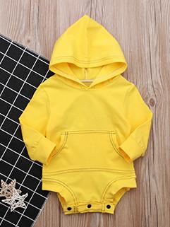 Simple Design Solid Hooded Romper For Infant