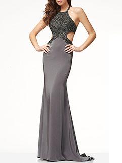 Sexy Backless Halter Floor Patchwork Cheap Evening Dress