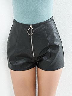 Fashion PU Zipper Decor Solid Short Pant