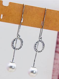 Long Fringe Pearl Ring Pendant Sweet Girl Earrings