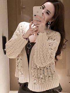 Korean Style Beading Twist Sweater Coat