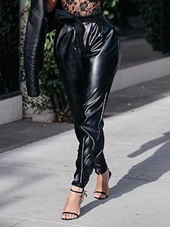 Euro Vintage PU Black Long Trousers