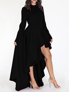 Euro High Neck Tiered Asymmetrical Dress