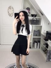 Preppy Style Lapel Color Match Patchwork A-Line Dress