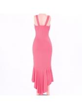 Sexy V-Neck Flounced Asymmetrical Hem Sleeveless Dress
