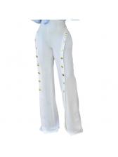 Euro Button Design Wide Leg High Waist Flare Pant