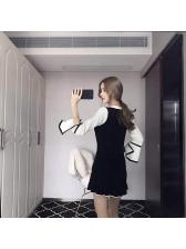 Bow Bandage Flare Sleeve Color Match Slim Dress