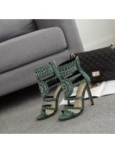 Zip Back Faux Diamonds Hollow Out Stiletto Sandals