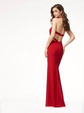 Sexy Backless Sleeveless Halter Slim Evening Dress