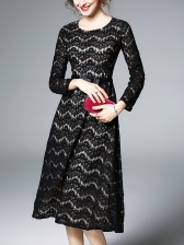 Elegant Striped Lace A-Line Black Long Sleeve Dress