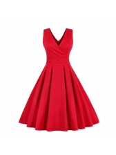 Vintage Style V Neck Solid Pleated Dress