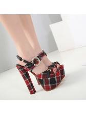 Red Plaid Chunky Super High Heel Sandals