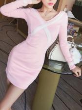 Korean Contrast Color V-Neck Fitted Wrap Dress