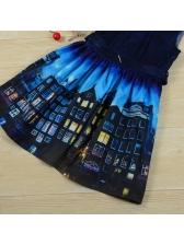 Fashion Sleeveless Printing Pleated Dress For Girls