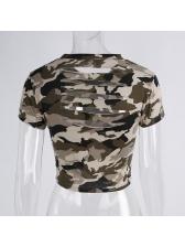 Casual Short Sleeve Camouflage Printing Short Shirt