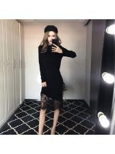 Newest Asymmetrical Lace Patchwork Knit Bodycon Dress