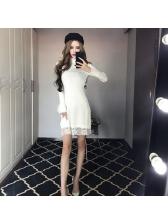 Fashion Easy Match Lace Patchwork Knitting Dress