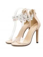 Faux Diamonds Clear Strap Stiletto Sandals