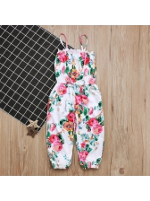 European Summer Flower Printing Strap Jumpsuit For Girls