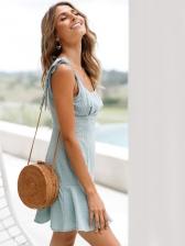 Trendy Strap Flounced Smart Waist Short Dress
