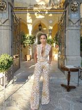 Surplice Fashion Printing Women Jumpsuits Online