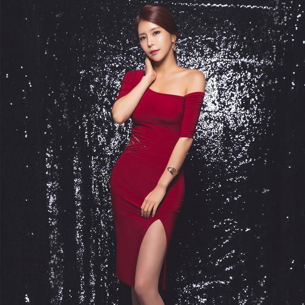 Sexy Off Shoulder Half Sleeve Slit Bodycon Dress