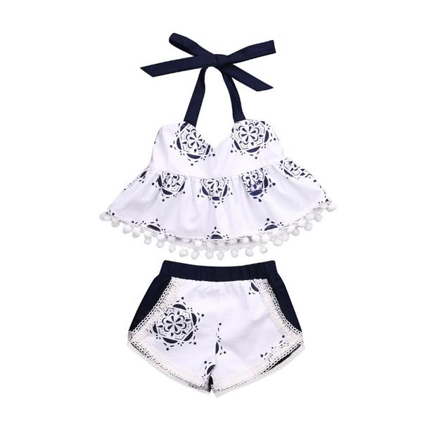 Printing Sleeveless Infant Girls Set