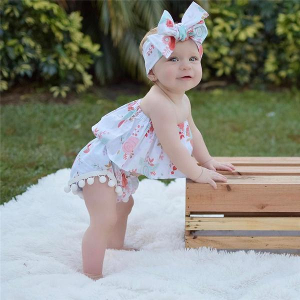 Printing Strapless Summer Infant Girls Set