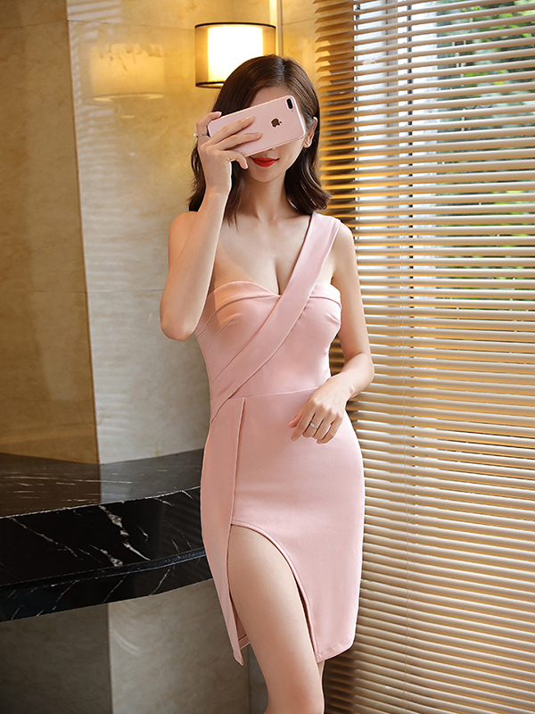 Sexy One Shoulder Slit Bodycon Short Dress
