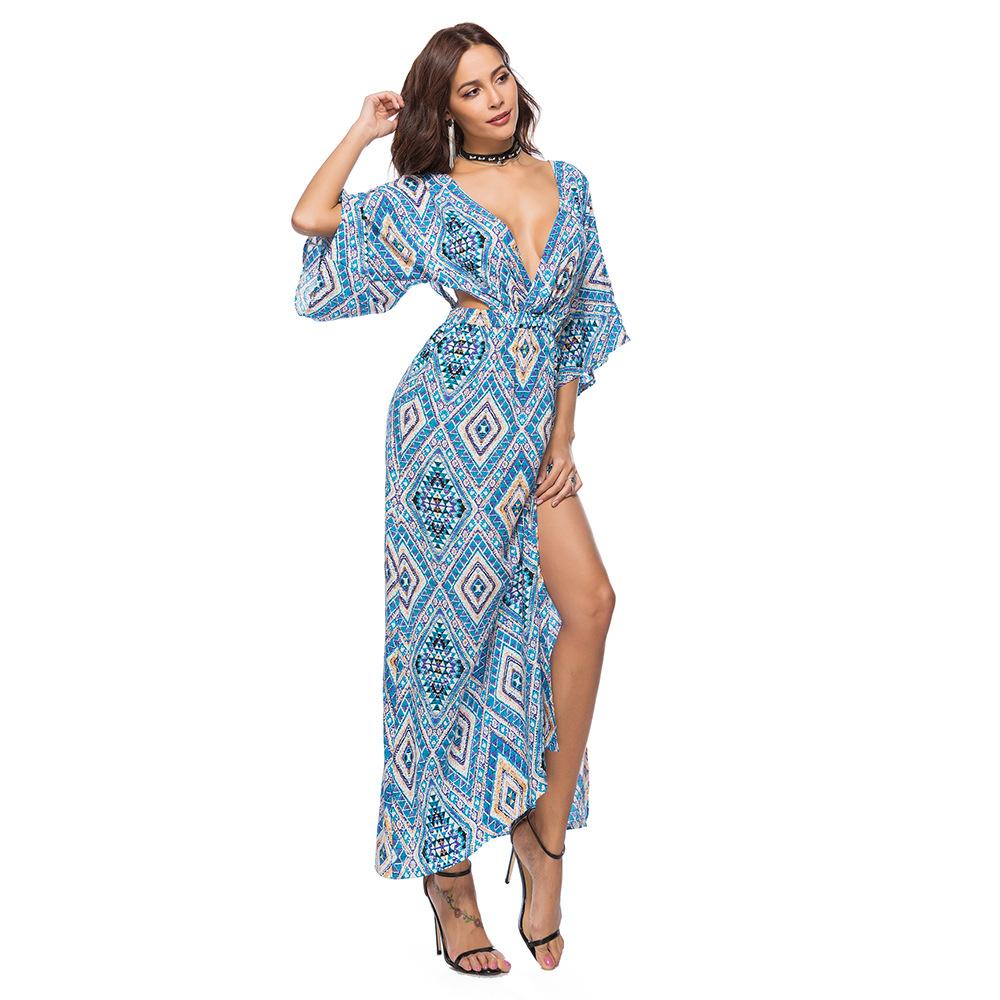 Original Backless Prints High Slit Maxi Dress