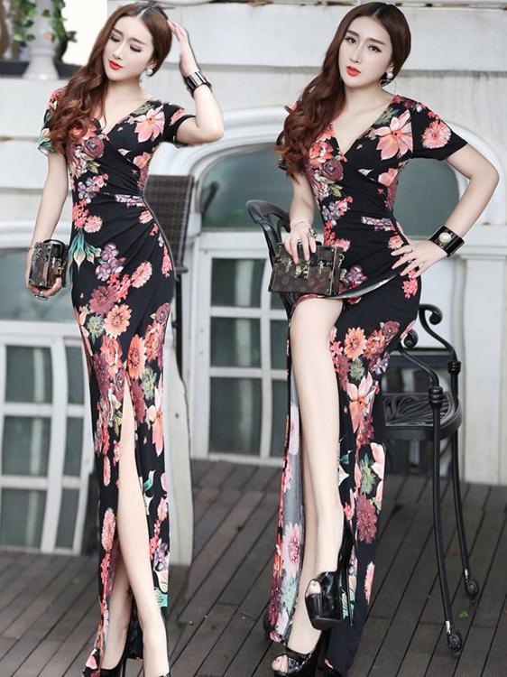 Floral High Slit Sexy Maxi Dress