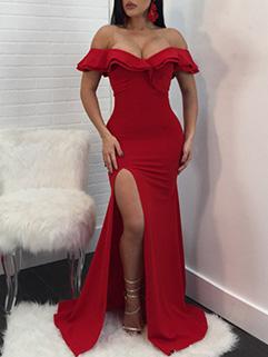 Sexy Off Shoulder Slit Floor Evening Dress