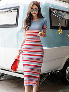 Spring Striped Bodycon Short Sleeve Knitting Dress