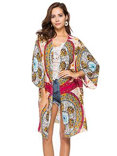 Hot Selling Printing Chiffon Beach Long Coat
