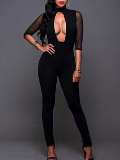 Sexy Low Cut Skinny Black Jumpsuit
